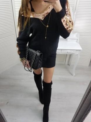 Sweterek delikatny czarny łodka