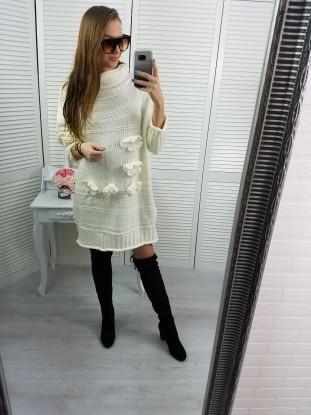 Sweterek szary z koronką